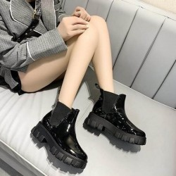 Patent Chelsea ankle boots with thick soles