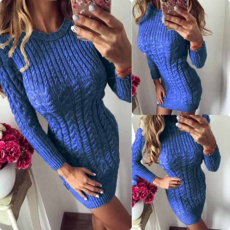 Robe pull bleue torsadée