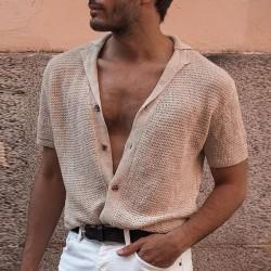 Men's beige buttoned knitwear