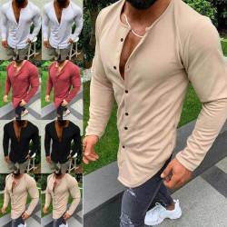 Men's long sleeves buttoned T-shirt