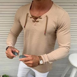 Men's long sleeves lace-up neckline T-shirt