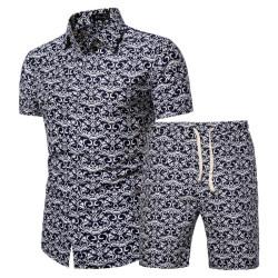 Men's retro beach shorts and shirt