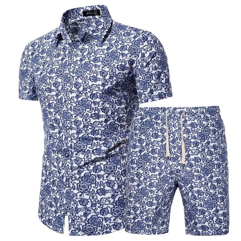 Chemise et short de plage fleuri homme