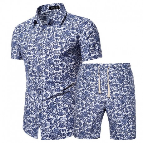 Men's vintage beach shorts and shirt