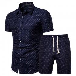 Men's polka dot beach shorts and shirt