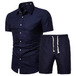 Men's polka dot beach shorts and shirt