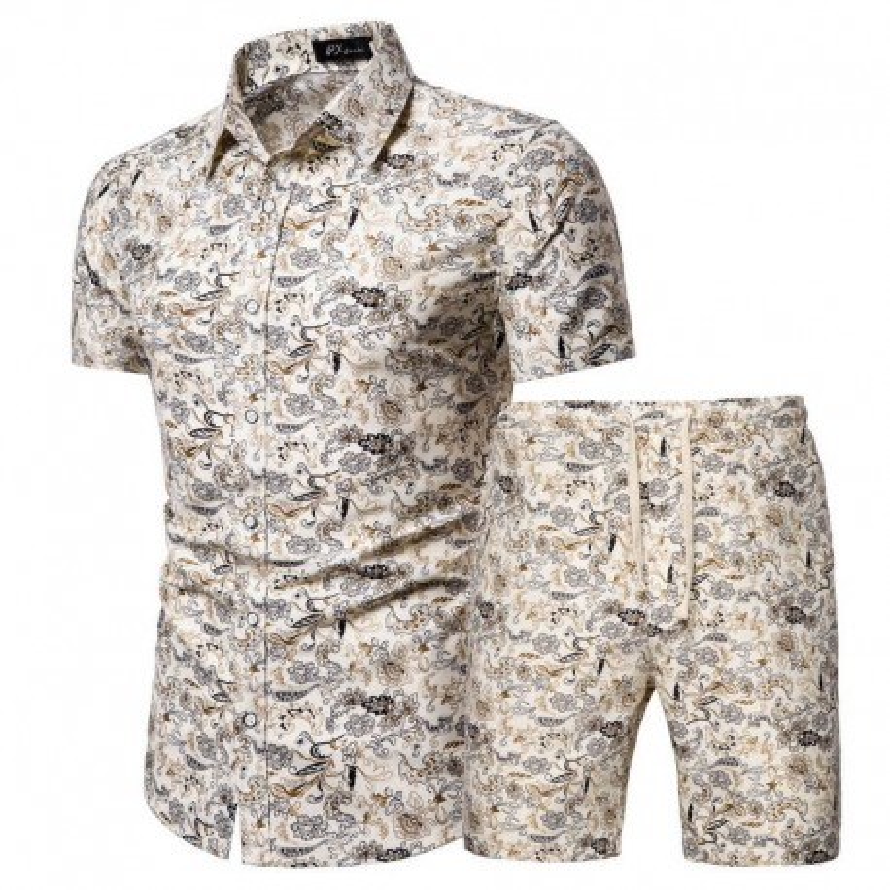 Men's floral beach shorts and shirt