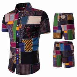 Men's multicolour beach shorts and shirt