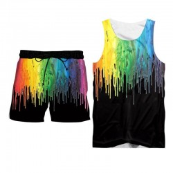 Rainbow paint tank top and shorts