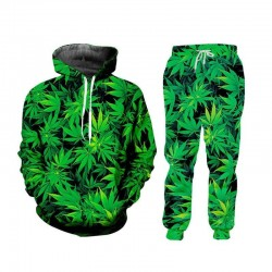 Cannabis leaf sweatshirt and pants tracksuit