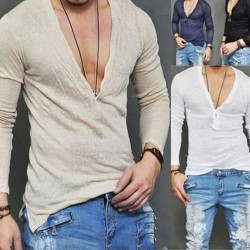 Men's plunging neckline T-shirt