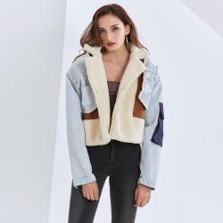 Veste en jean et laine d'agneau