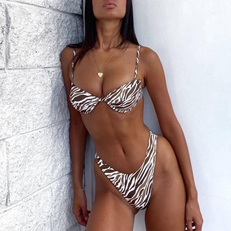 Bikini zébré marron