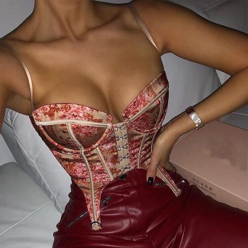 Top corset fleuri
