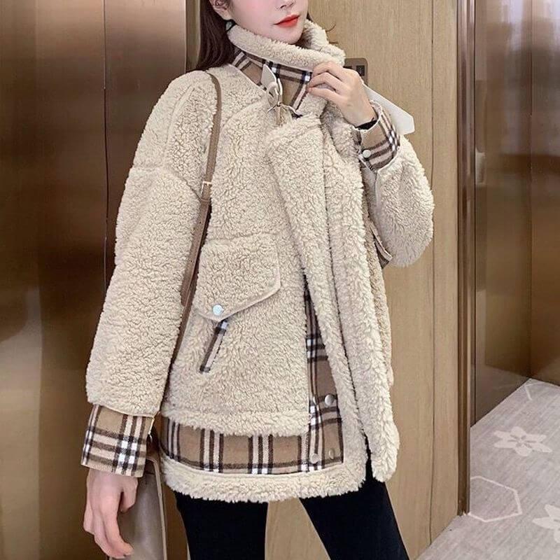 Manteau laine d'agneau et plaid