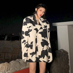 Cow print oversized blazer