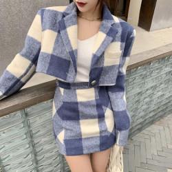 Plaid skirt and crop jacket set