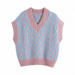 Pink and blue vest sweater