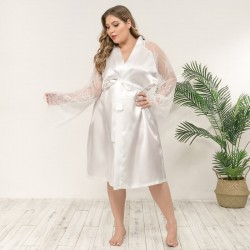 Plus size satin and lace dressing gown