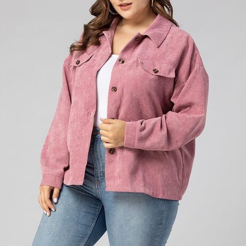 Veste rose en velours côtelée grande taille