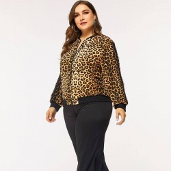 Plus size leopard jacket