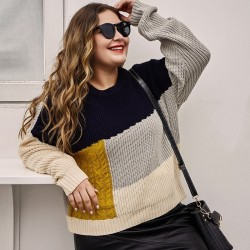 Pull col rond grande taille