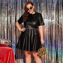 Plus size black leather dress