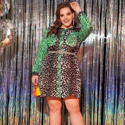 Plus size leopard shirt dress