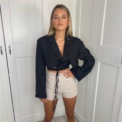 Cropped lace-up blazer