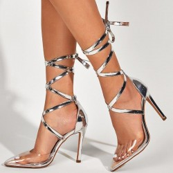 Silver pumps with lace up