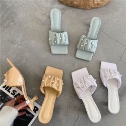 Square toe sandals with pearls