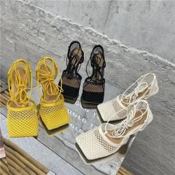 Sandales à bout carré résille