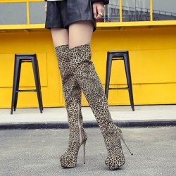 Leopard tight high boots
