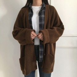 Cardigan mi-long marron