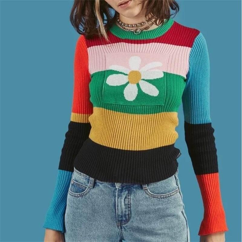 Pull multicolore marguerite