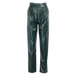 Green leather pants