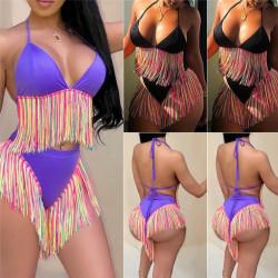 Bikini 2 pièces à franges multicolore