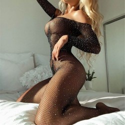 Rhinestone fishnet jumpsuit