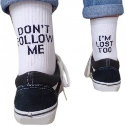 DON'T FOLLOW ME I'M LOST TOO original socks