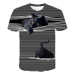T-shirt rayé chat