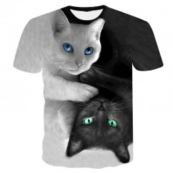 Black and white cat T-shirt