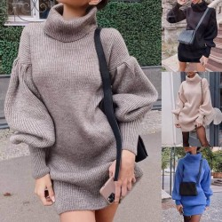 Turtle neck sweater dress with puffed sleeves