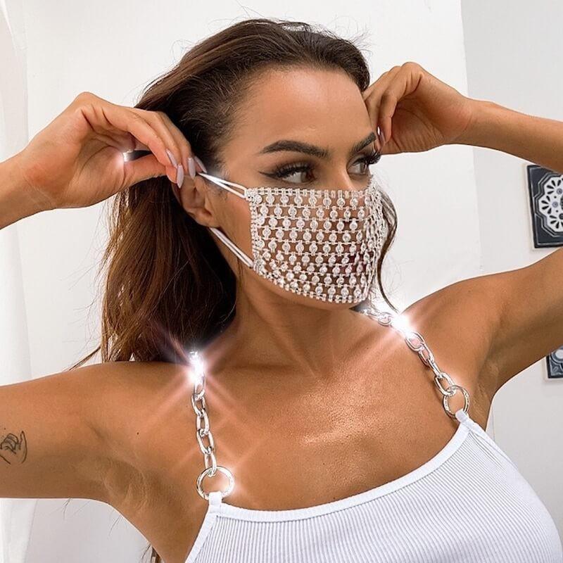 Masque bling bling en diamant
