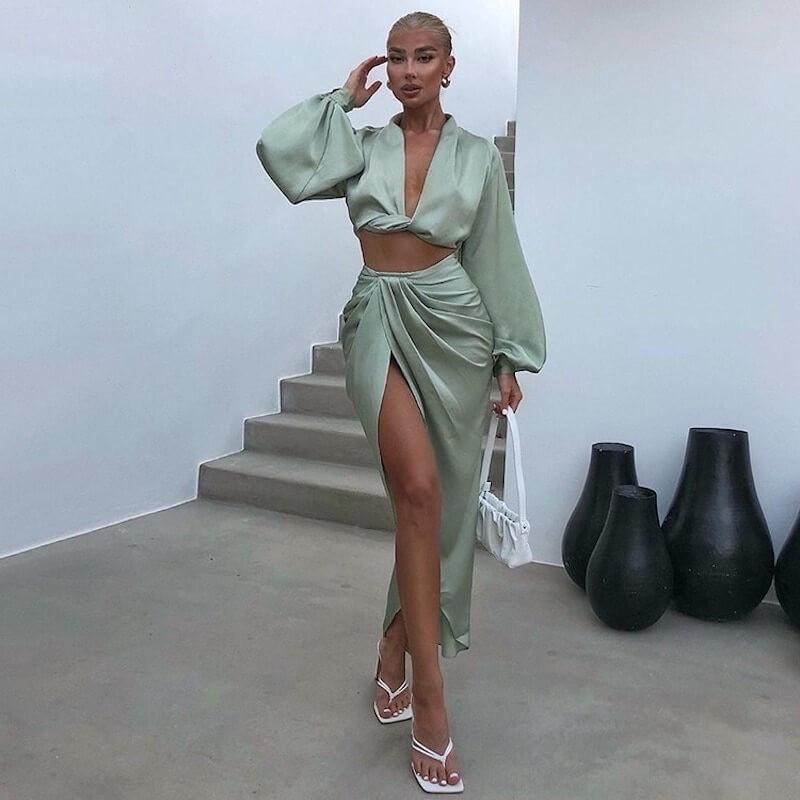 Green satin skirt and top set