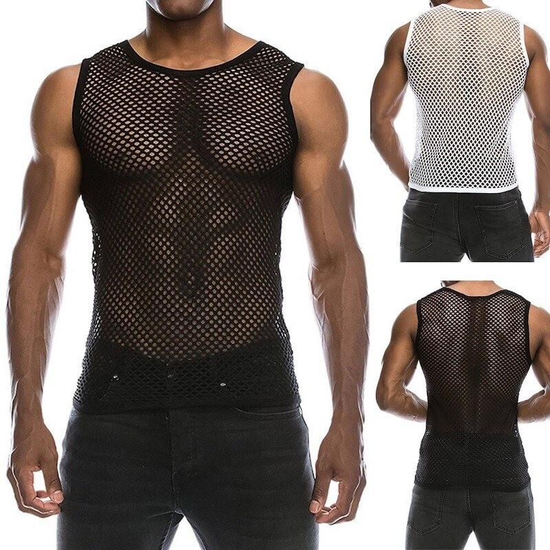 Men's fishnet tank top