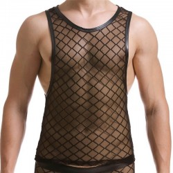 Men's lace and leather tank top