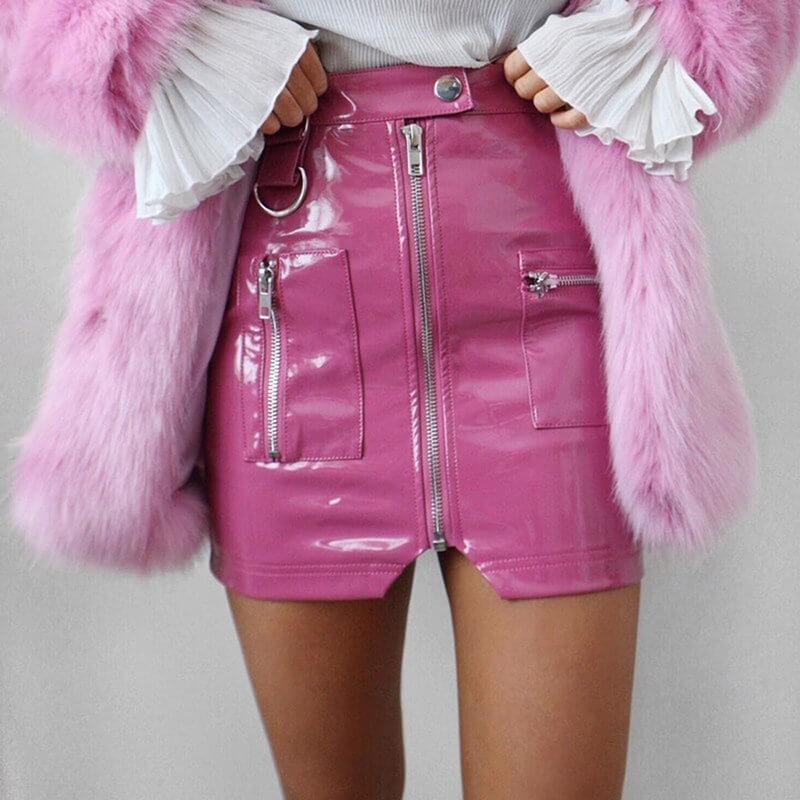 Pink vinyl skirt