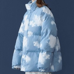 Blue puffer coat with cloud
