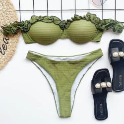 Bikini khaki à froufrou