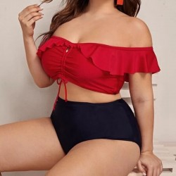 Plus size black and red bikini